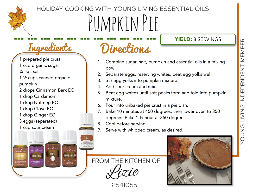 Pumpkin Pie Recipe with Essential Oils